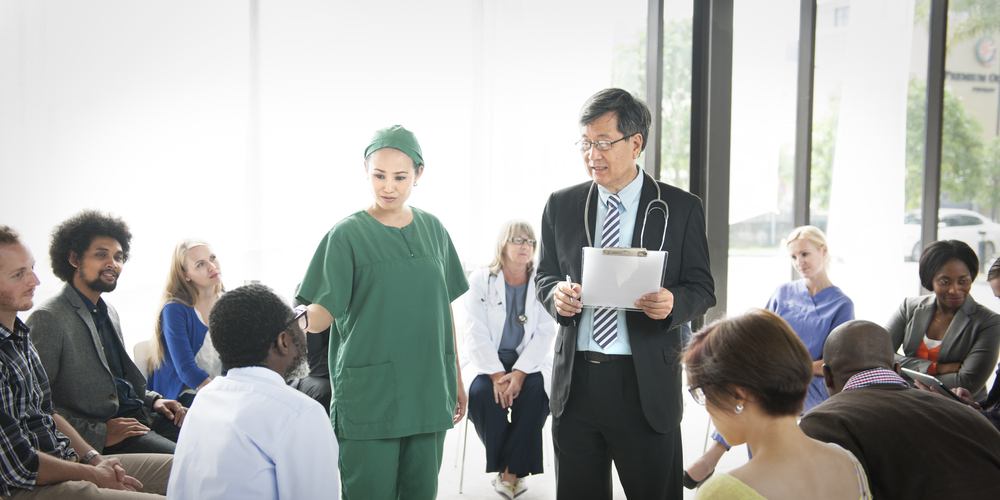 doctor and nurse group therapy
