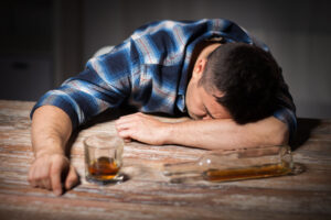 man drunk from alcohol whisky