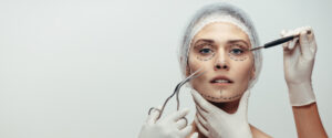 woman being prepared for facelift