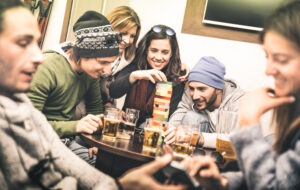 college students drinking together