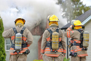 firefighters responding to a fire